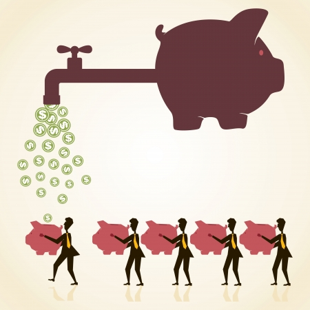 piggy bank with tap to distribute money customer Stock Vector - 18332233