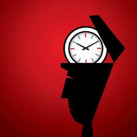 delay: clock in head stock vector