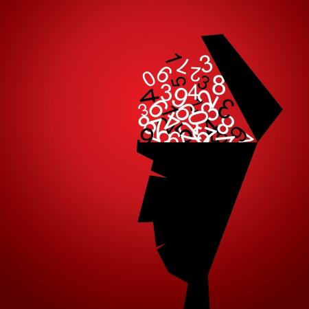 numbers in men head stock vector Illustration