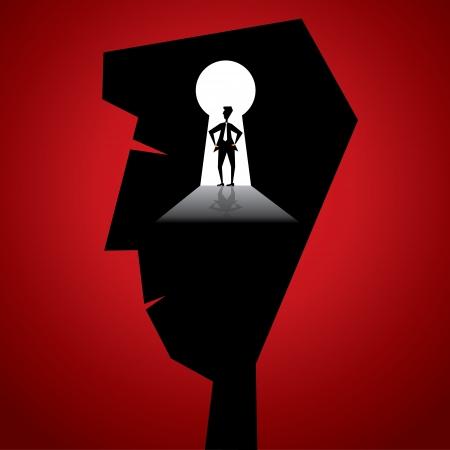 key hole: businessmen in key hole in businessmen head stock vector