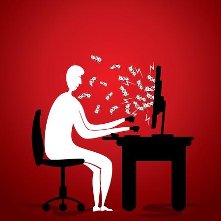 earn money: online money earn concept stock vector