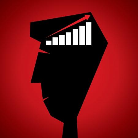 market graph in human head stock vector Stock Vector - 18332180