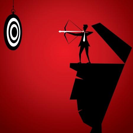 impact: businessmen hit archery board Illustration