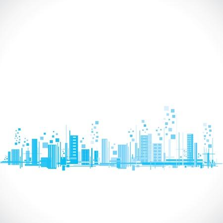 abstrakte blaue Gebäude Flucht Vektorgrafik