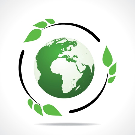 Eco friendly earth with green leaf design stock vector  Stock Vector - 18332253