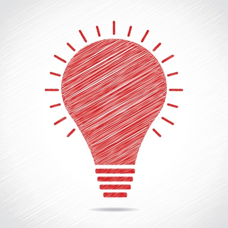 Red sketch bulb design stock vector  Illustration