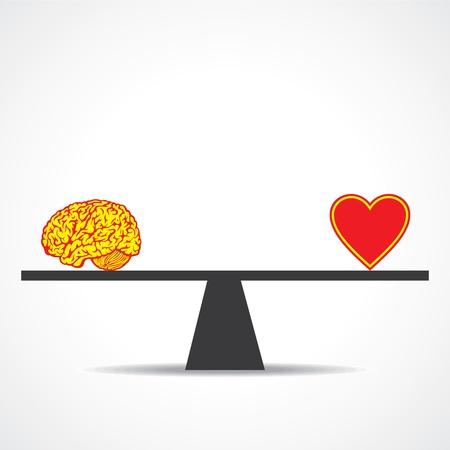logica: Comparar mente con coraz�n stock vector