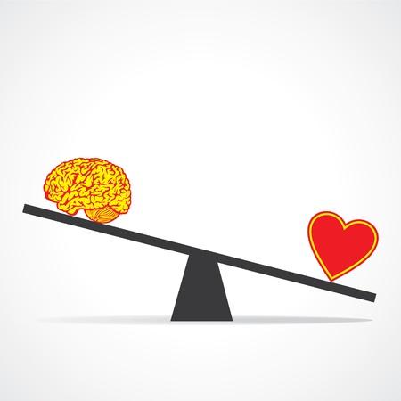 coraz�n y cerebro: Comparar mente con coraz�n stock vector