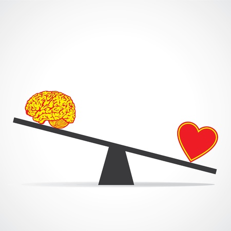 intuition: Compare mind with heart stock vector