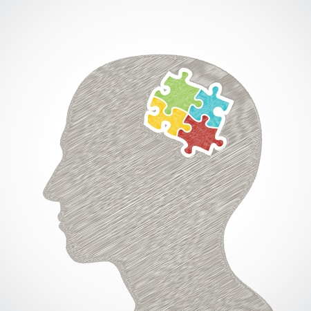 sketch man s face with puzzle pieces in his head design stock vector  Vector