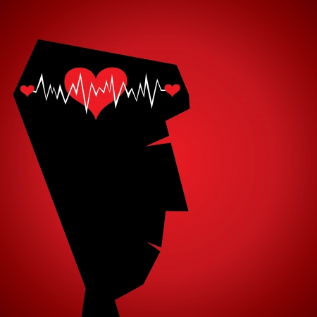 heart beat in head Vector