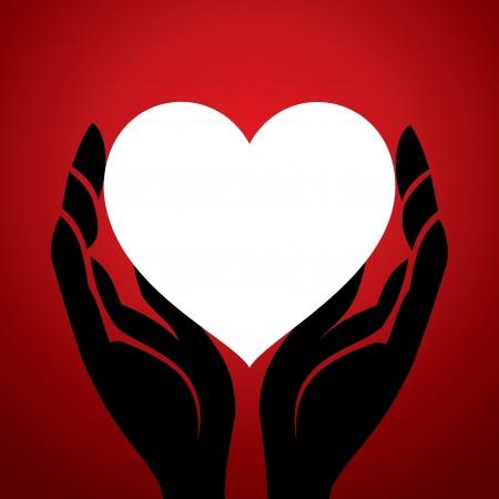 weißes Herz in der Hand Illustration