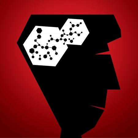 quimica organica: Atom estructura en la cabeza Vectores