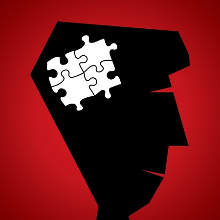 puzzle piece in head Stock Vector - 18332334