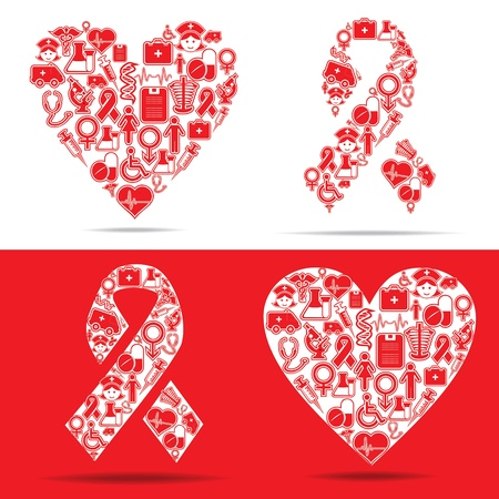 liver cancer: Medical icons make a heart and aids shape stock vector Illustration