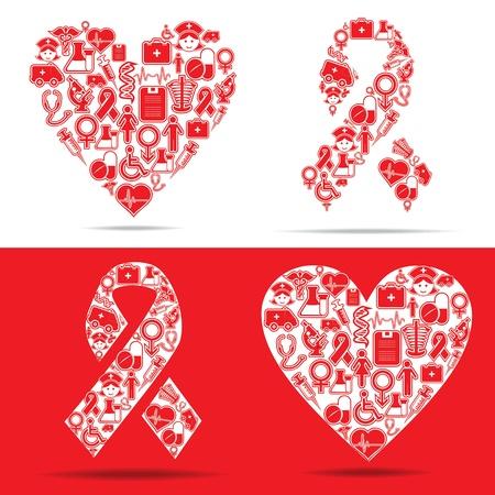 injectie: Medische pictogrammen maken een hart en helpt vorm stock vector