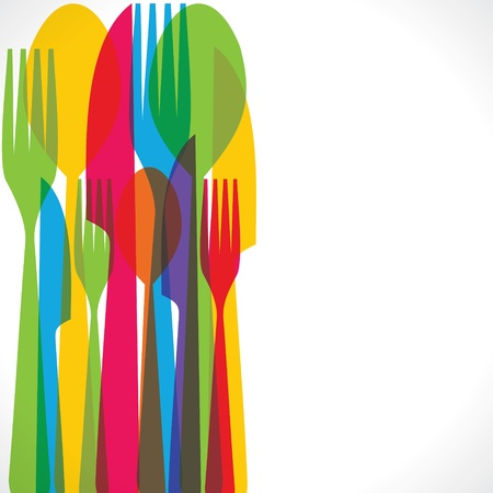 soup and salad: colorful forks background stock vector