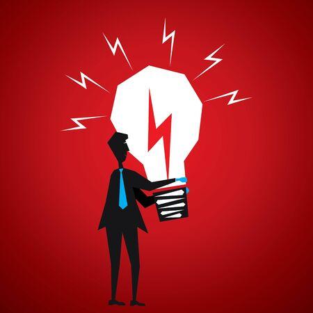 men take big idea bulb stock vector Stock Vector - 18398057