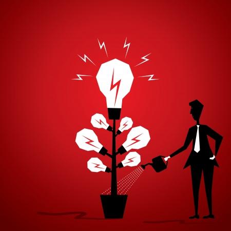 Glühlampe Anlage Männer geben Wasser oder neue Idee zu generieren Pflanze stock vector Illustration