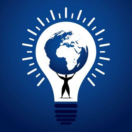 men lift world globe in bulb stock vector Vector