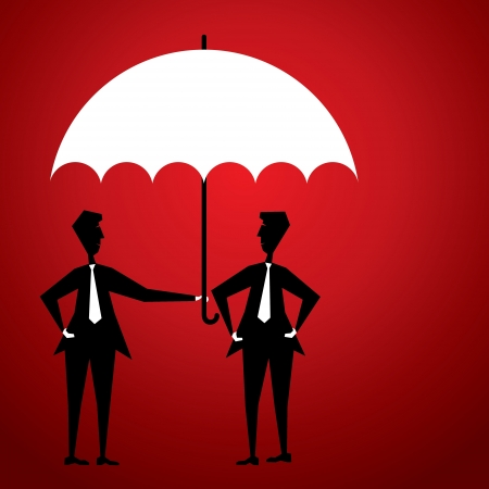 men save friend  by rain under umbrella Stock Vector - 18398052
