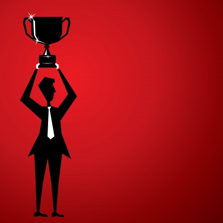 black fan: men celebrate success for lifting cup Illustration