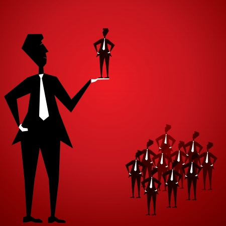career coach: big men recruiter for company that why crowd of people  Illustration