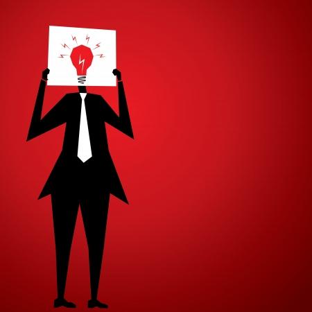 men cover his face by bulb or idea poster stock vector Stock Vector - 18398061