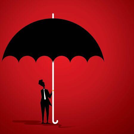 small men under big umbrella stock vector