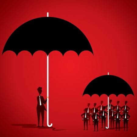 famiglia numerosa: squadra-leader nella grande ombrello e dipendente in piccolo ombrello stock vector