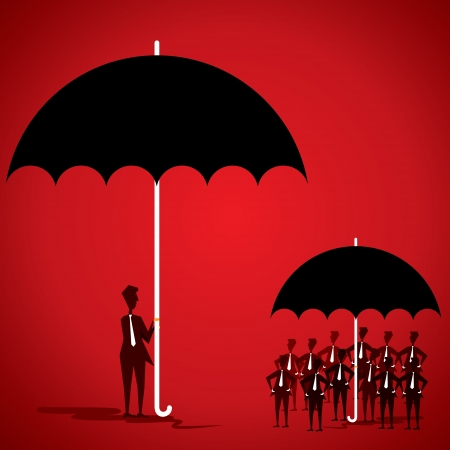small group of objects: team-leader in big umbrella and employee in small umbrella stock vector