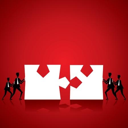 Team von Leuten anzuschließen Stück, wenn puzzle stock vector