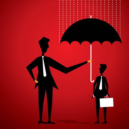 uomo sotto la pioggia: uomini coprono amico da ombrello stock vector Vettoriali