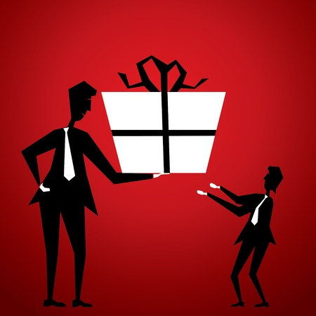 big boxes: men giving big gift to small friend stock vector Illustration