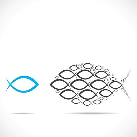 abstrakter Fisch bewegt sich in entgegengesetzter Richtung Vektorgrafik Illustration