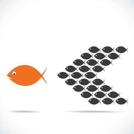 peces pequeños siguen el gran caldo de pescado vectorial