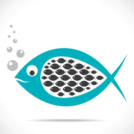 fish leader take all fish in stomach stock vector