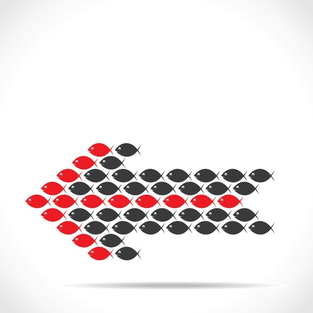 attain: red and black fish make arrow shape stock vector