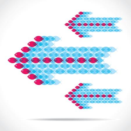 group of fish make arrow shape Stock Vector - 18398195