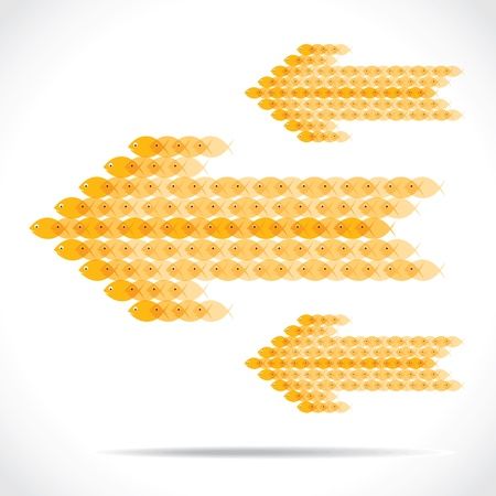 yellow fish group make arrow shape stock vector Stock Vector - 18398194