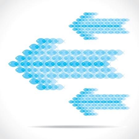 blue fish group make arrow shape stock vector Stock Vector - 18398172