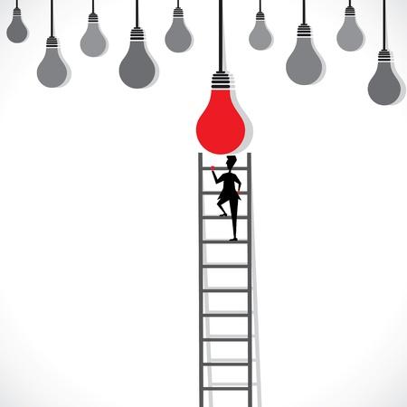 stepladder: men get new idea stock vector