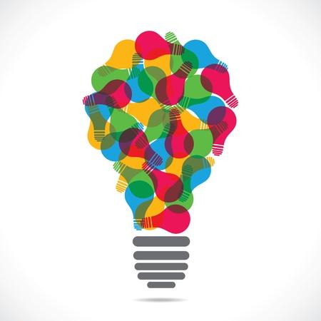 bunte Lampe Design mit Glühlampe Vektorgrafik