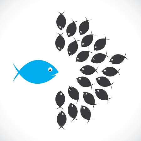fish discuss or leader meeting with team member Illustration