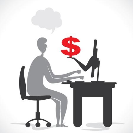 men earning money from all over the world through internet stock vector Stock Vector - 18398046
