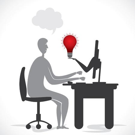 businessmen get new idea online  stock vector Stock Vector - 18398049