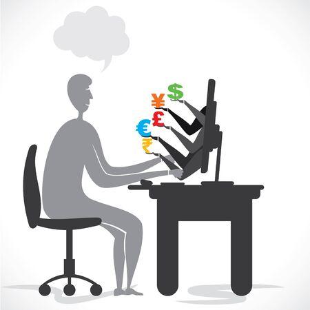 earning: online global earning stock vector