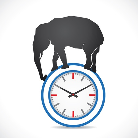 show time: very difficult time concept show elephant on clock
