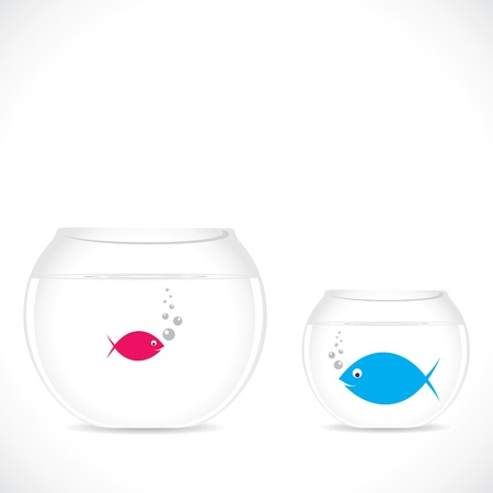 goldfish jump: small fish in big pot and big fish in small pot stock vector