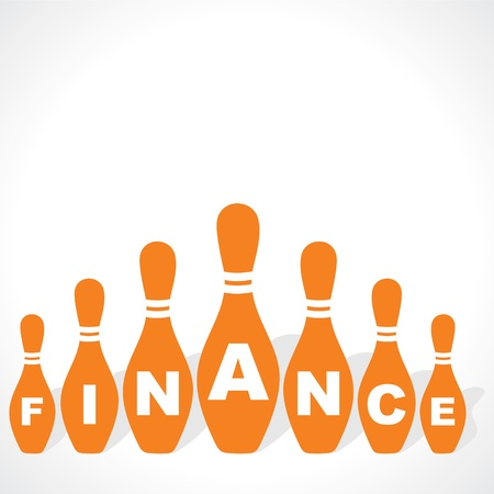 managed: bowling pins make finance word stock vector